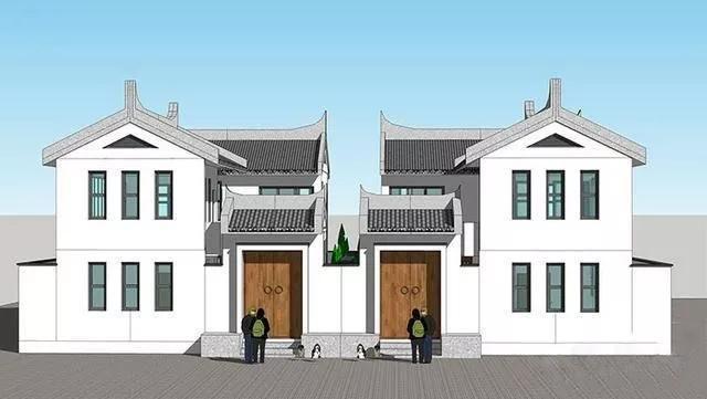 沉稳大气的中式双拼别墅,灰瓦白墙,古朴且优雅