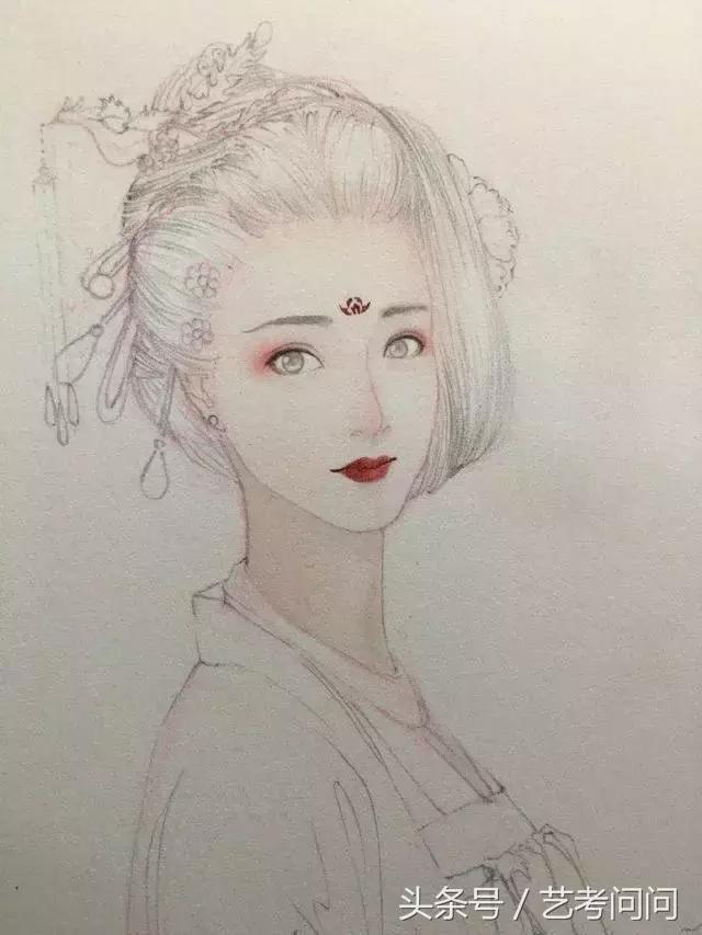 古风手持扇子少女手绘