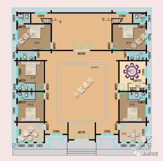 025米; 主体造价:40万左右; 一层平面设计图:一楼设有五间卧室,一间茶