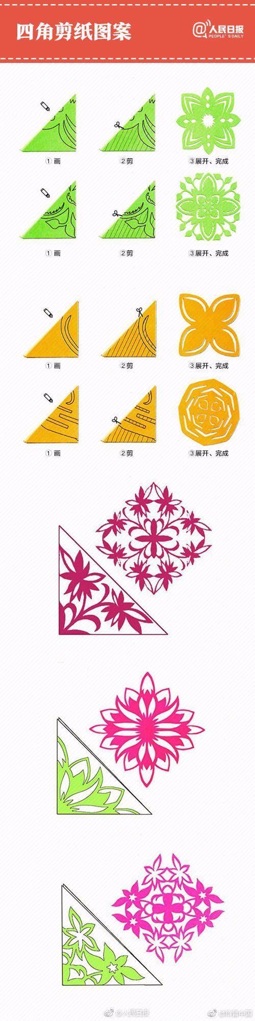"""六角,五角,四角窗花剪纸教程,开门纳""""福"""",送冬迎""""春""""窗花…看图学习"""