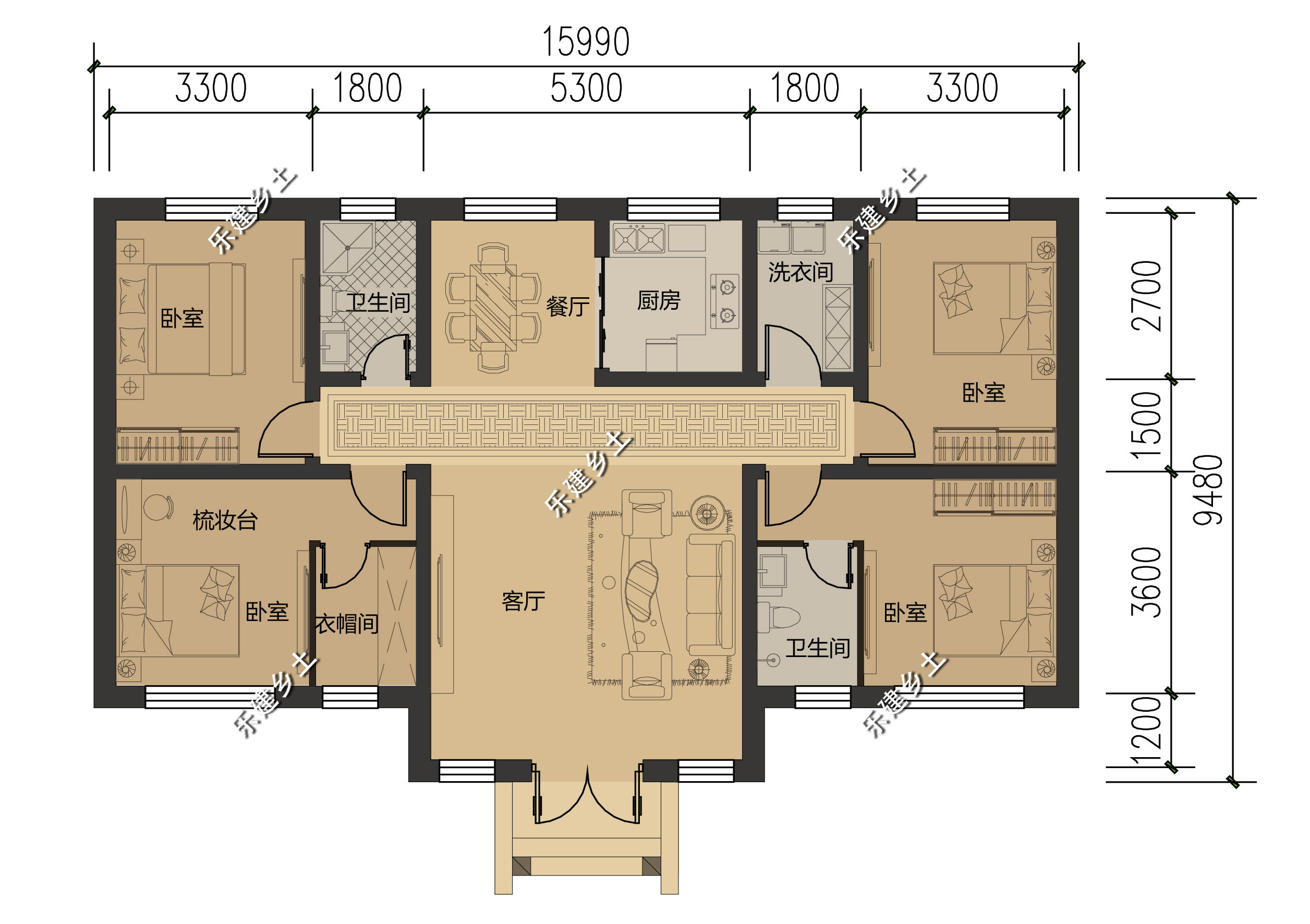 别拿一层不当别墅,一层16x10米欧式别墅设计