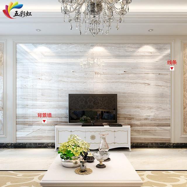 1,微晶石背景墙搭配石材线条边框造型装修效果图