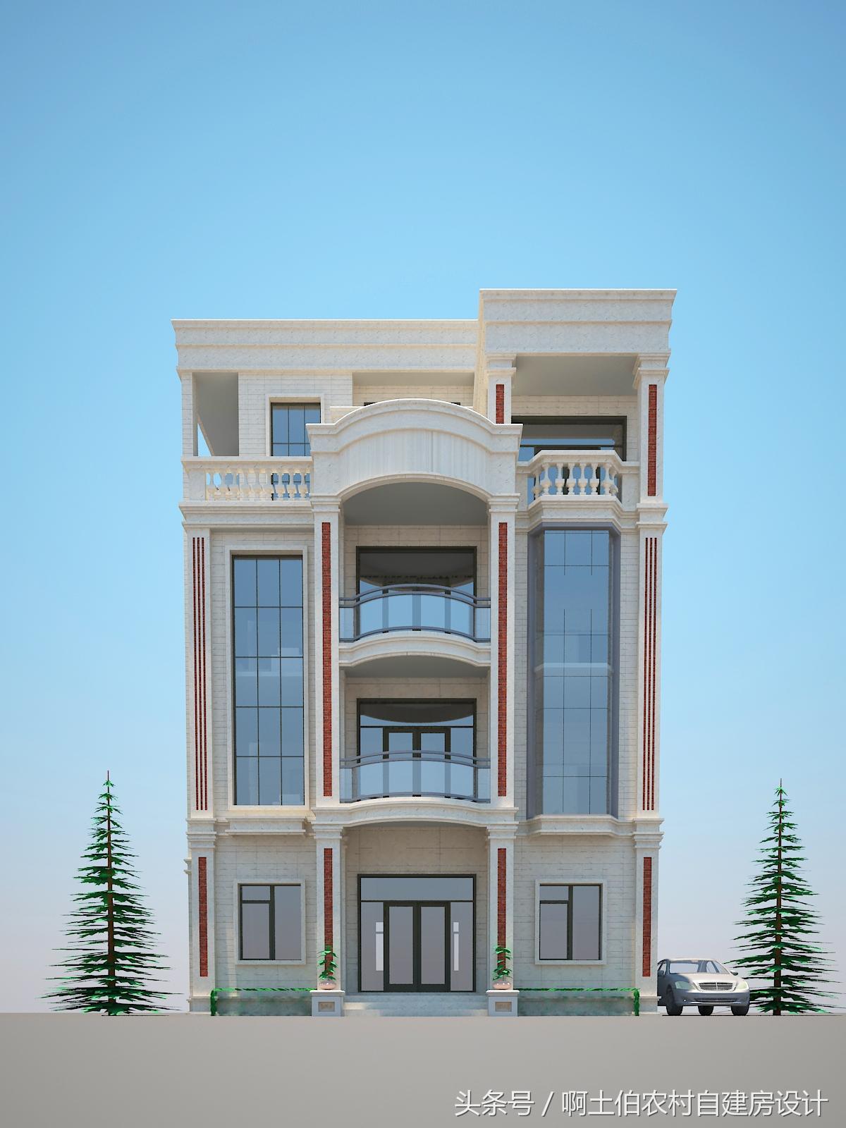 10.5x14米现代风格四层半自建房别墅设计图