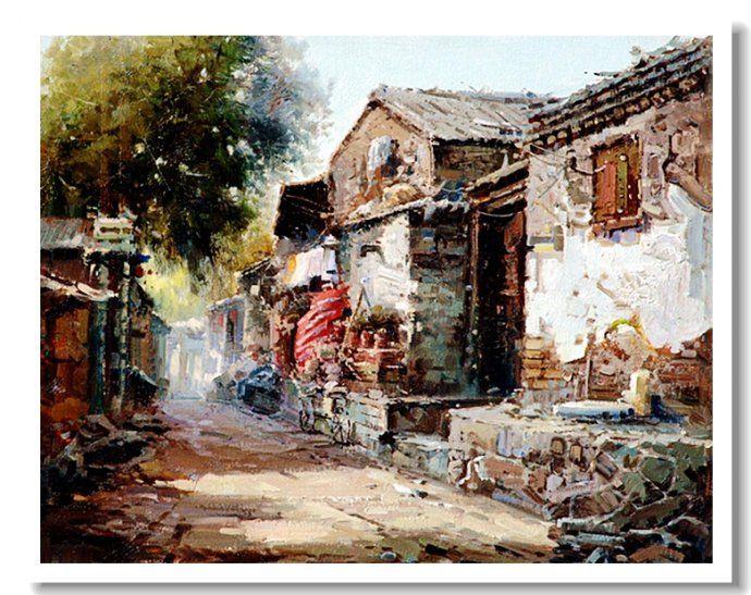 老北京胡同!--黄劲松油画!