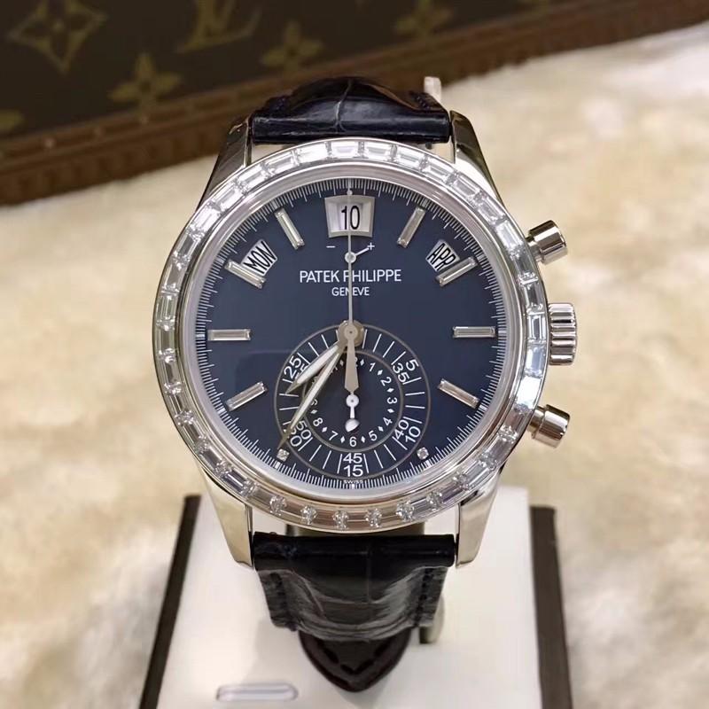 百达翡丽复杂功能计时系列5961p蓝盘铂金多功能手表