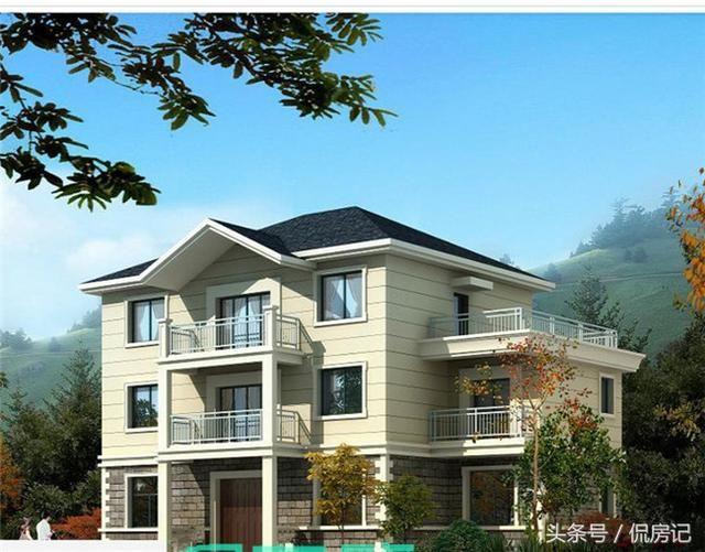 12x10三层农村小别墅,带大堂屋,八间卧室,主打经济实用型