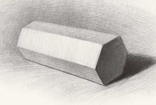 教你学画画:石膏几何体 六棱柱素描教程