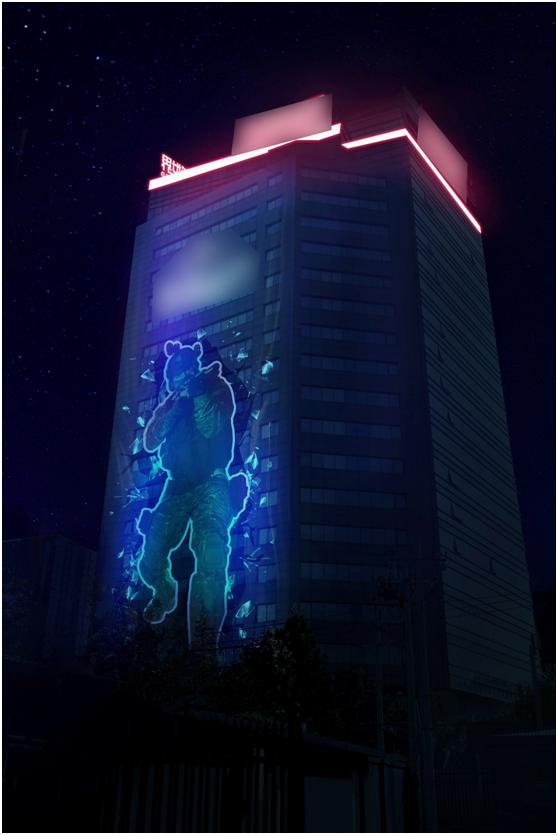 20层楼海报成网红兵哥哥