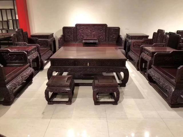 赞比亚血檀祥龙沙发十三件套
